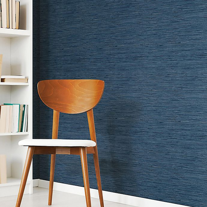 Alternate image 1 for Roommates® Grasscloth Peel & Stick Wallpaper in Navy