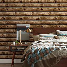 RoomMates® Peel & Stick Cabin Logs Wallpaper in Brown