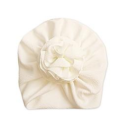 Tiny Treasures™ Flower Turban Hat in White