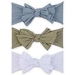 Ely's & Co.® Size 0-12M 3-Pack Bow Headbands in Blue/Khaki/White