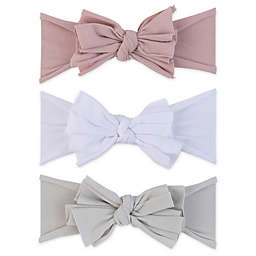 Ely's & Co.® Size 0-12M 3-Pack Bow Headbands in Lavender/White/Grey