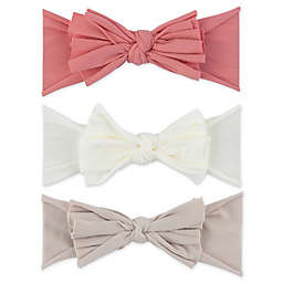 Ely's & Co.® Size 0-12M 3-Pack Bow Headbands in Pink/Ivory/Tan
