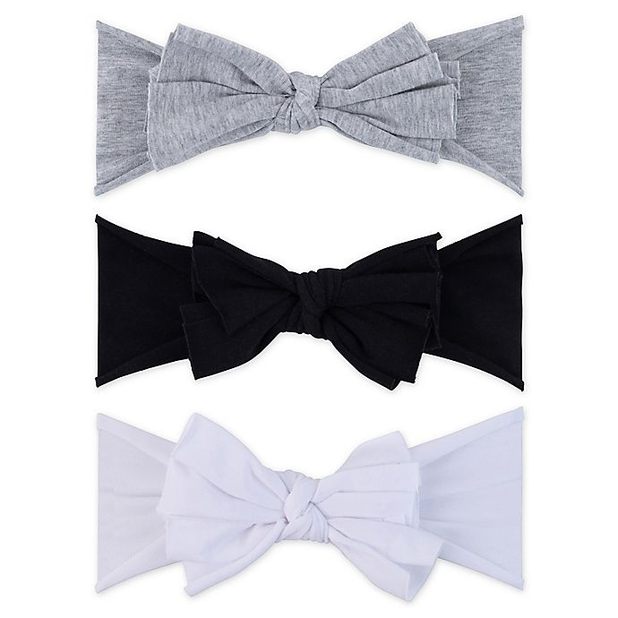 Alternate image 1 for Ely's & Co.® Size 0-12M 3-Pack Bow Headbands in Grey/Black/White
