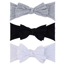 Ely's & Co.® Size 0-12M 3-Pack Bow Headbands in Grey/Black/White