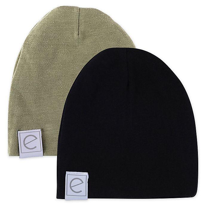 Alternate image 1 for Ely's & Co.® Size 0-3M 2-Pack Beanies in Khaki/Black