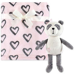 Hudson Baby® Plush Blanket and Miss Panda Toy Gift Set in Pink/Charcoal