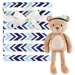Hudson Baby® Plush Blanket and Aztec-Inspired Bear Toy Gift Set in Blue/White