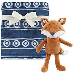 Hudson Baby® Plush Blanket and Modern Fox Toy Gift Set in Blue/White