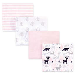Hudson Baby® 4-Pack Flannel Recieving Blankets in Woodland Pink