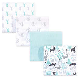 Hudson Baby® 4-Pack Flannel Recieving Blankets in Woodland Teal