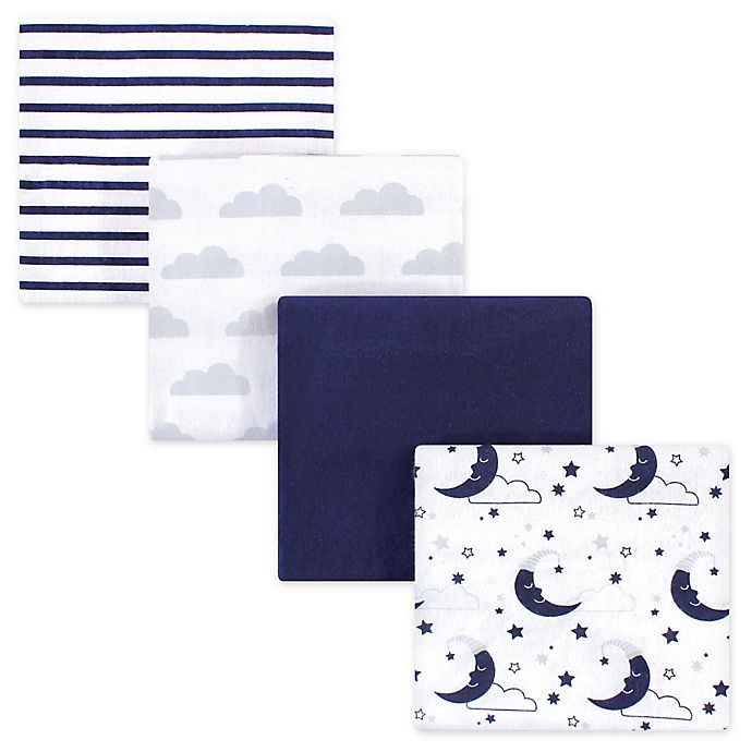 Alternate image 1 for Hudson Baby® 4-Pack Flannel Recieving Blankets in Navy Moon