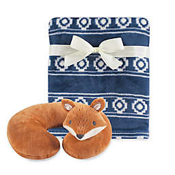 Hudson Baby® Modern Fox Neck Pillow and Blanket Set in Navy/Orange