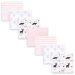 Hudson Baby® 7-Pack Woodland Flannel Receiving Blankets in Pink