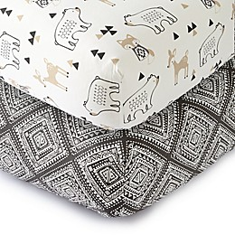 LEVTEX BABY Bailey Cotton Fitted Crib Sheet in Charcoal/Ivory (Set of 2)
