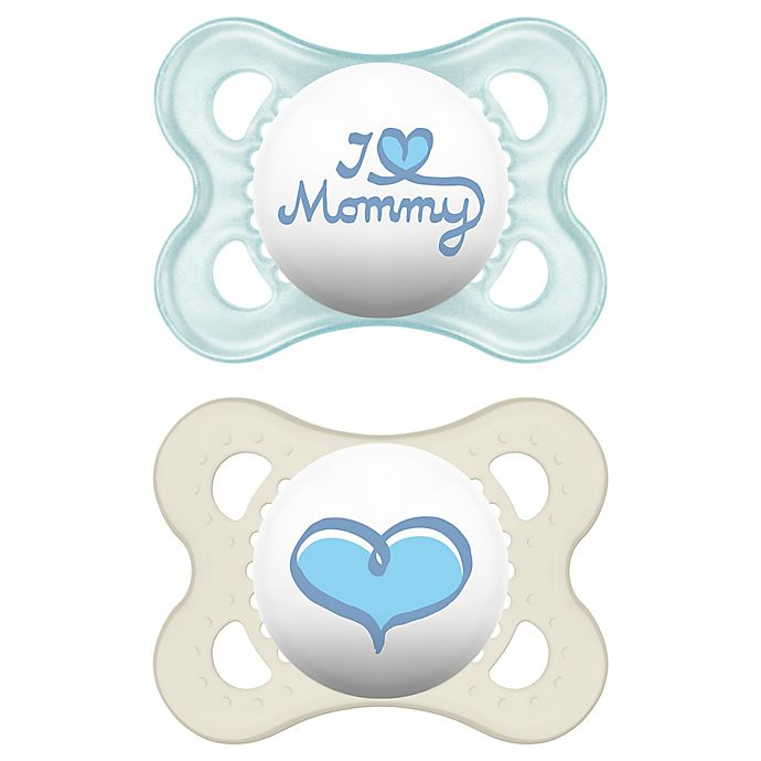 Alternate image 1 for MAM Love & Affection Age 0-6 Months I Love Mommy Pacifier (2-Pack)