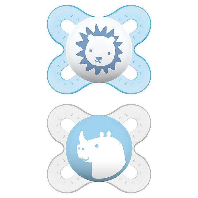 Alternate image 1 for MAM Start Size Newborn to 2 Months Pacifier in Blue/Green (2-Pack)