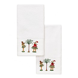 Oh Tan And Palm Embroidered Hand Towel Set