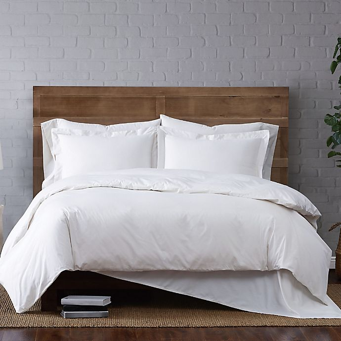Alternate image 1 for Brooklyn Loom Classic 2-Piece Twin XL Duvet Cover Set in White