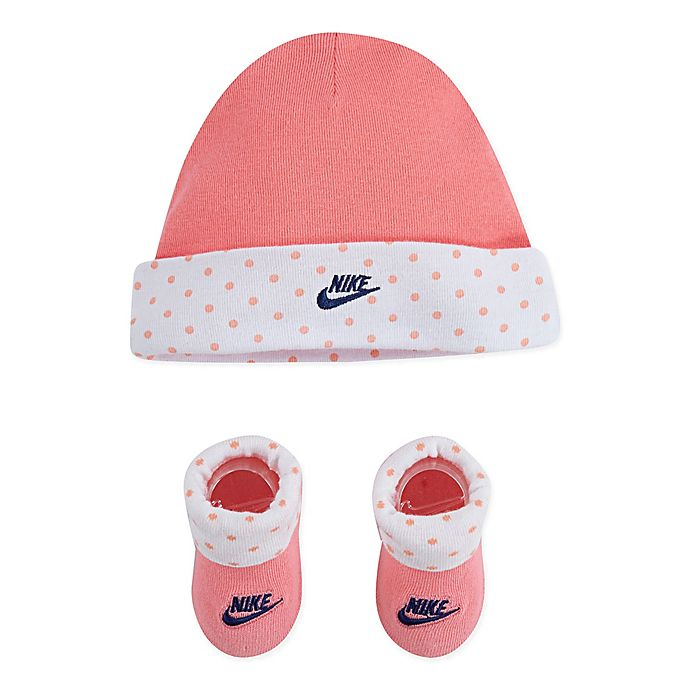 Alternate image 1 for Nike® Size 0-6M 2-Piece Polka Dot Beanie and Bootie Set in Pink