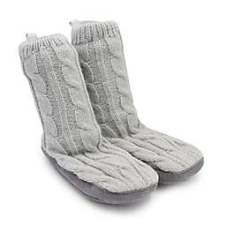 On the Goldbug™ Cable Knit Slipper in Grey