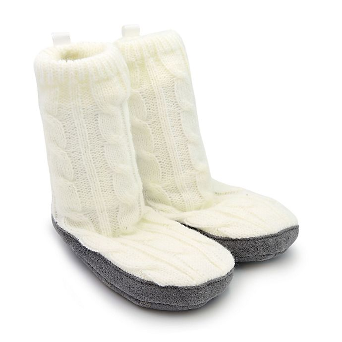 Alternate image 1 for On the Goldbug™ Cable Knit Slipper in Ivory