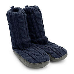 On the Goldbug™ Cable Knit Slipper in Navy