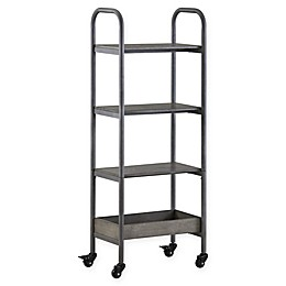 Modern Farmhouse 4-Tier Utility Cart with Locking Casters