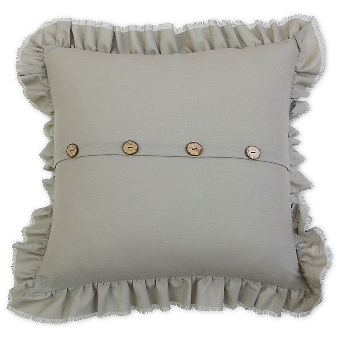 Alternate image 1 for Belle Ruffle 20-Inch Square Square Throw Pillow in Grey