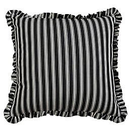 Carlie Stripe Ruffle Square Throw Pillow in Cream/Black