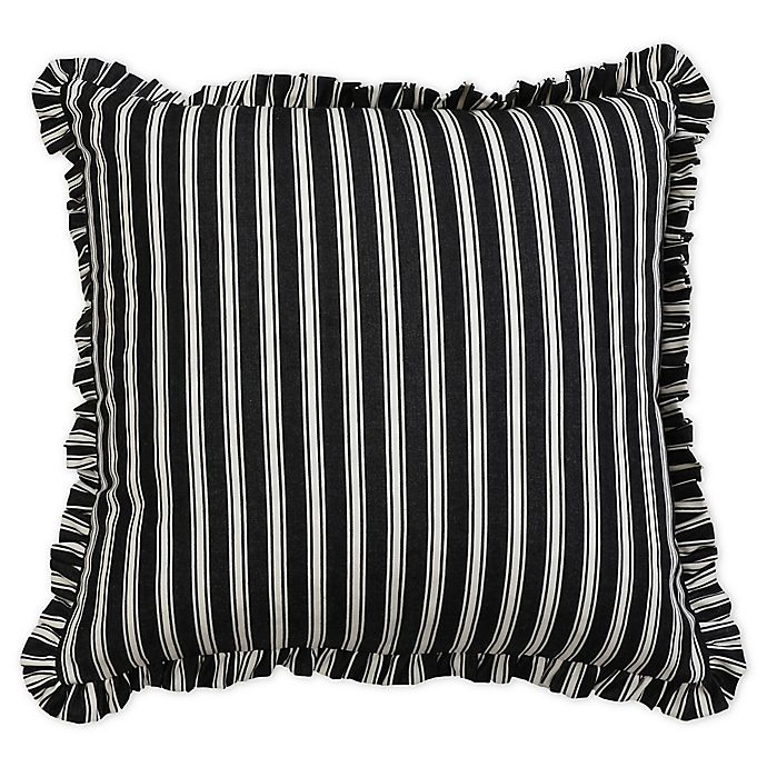 Alternate image 1 for Carlie Stripe Ruffle Square Throw Pillow in Cream/Black