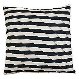 Ryder Pleated Square Throw Pillow in Black/Cream