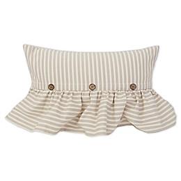 Tahlia Ticking Stripe Oblong Throw Pillow in Grey/Cream