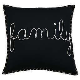 """Family"" Square Throw Pillow in Cream/Black"