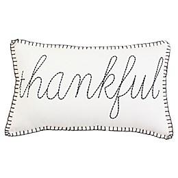 "Brooks ""Thankful"" Oblong Throw Pillow in Black/Cream"