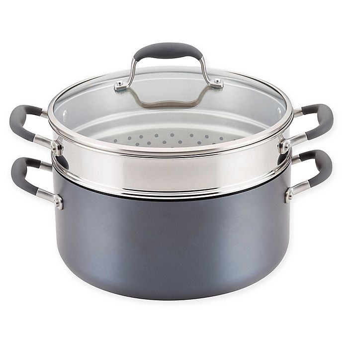 Alternate image 1 for Anolon® Advanced™ Home Hard-Anodized 8.5 qt. Covered Stock Pot and Steamer Insert