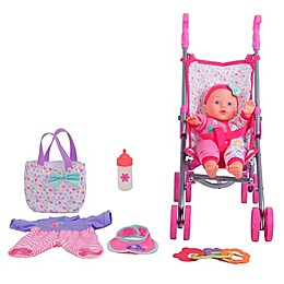 Gi-Go Toy 7-Piece Baby Doll Care Gift Set with Stroller