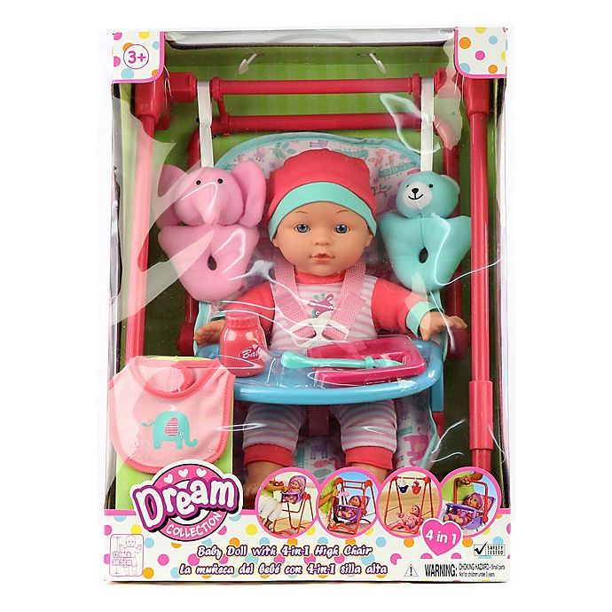 Alternate image 1 for Gi-Go Toy 9-Piece Baby Doll Set with 4-In-1 High Chair