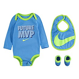 "Nike® 3-Piece ""Future MVP"" Bodysuit, Bib, and Booties Set in University Blue"