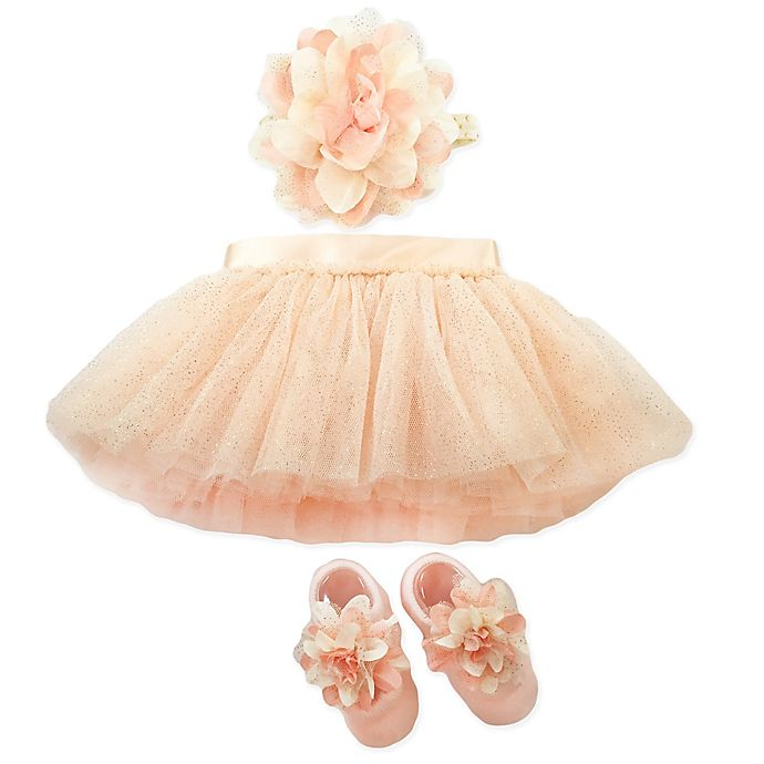 Alternate image 1 for Toby Signature™ Size 0-6M 3-Piece Flower Sparkle Tutu, Headband, and Shoe Set in Pink