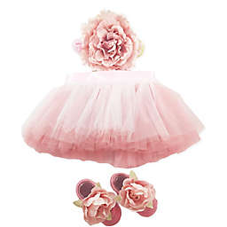 Toby Signature™ Size 0-6M 3-Piece Smoky Floral Tutu, Headband, and Shoe Set in Pink