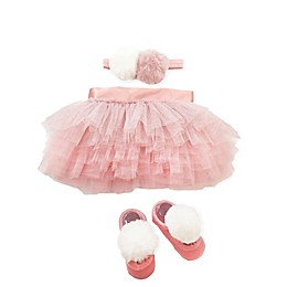 Toby Signature™ Size 0-6M 3-Piece Faux Fur Pom Tutu, Headband, and Shoe Set in Pink