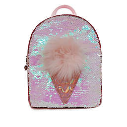 OMG Accessories Sequin Ice Cream Pompom Mini Backpack in PInk