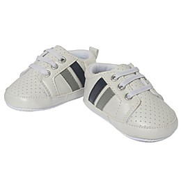 Little Me® Perforated Stripe Sneaker in White