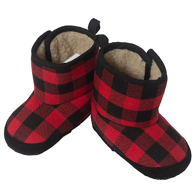 Alternate image 1 for Little Me® Buffalo Plaid Boot in Red/Black