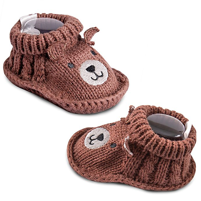 Alternate image 1 for IQ Kids Size 0-6M Bear Booties in Brown