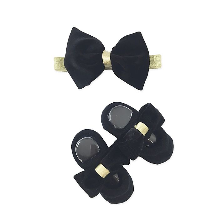 Alternate image 1 for Toby Fairy™ 2-Piece Bow Headband and Mary Jane Sock Set in Black