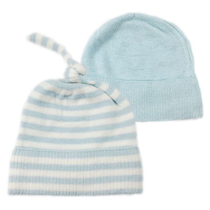 Alternate image 1 for NYGB™ 2-Piece Stripe Knot Hat Set in Blue