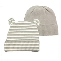 NYGB™ Newborn 2-Pack Bear Hats in Taupe
