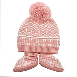 NYGB™ Newborn 2-Piece Jacquard Hat and Bootie Set in Blossom
