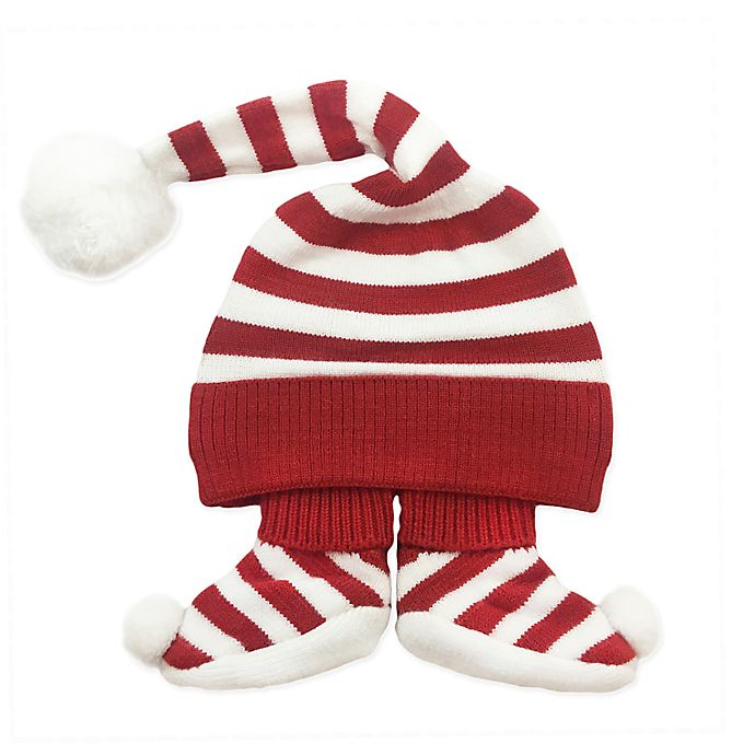 Alternate image 1 for NYGB™ Newborn 2-Piece Elf Hat and Bootie Set in Holiday Red